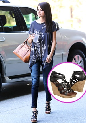 snag selena gomez's edgy wedges for under 75  us weekly