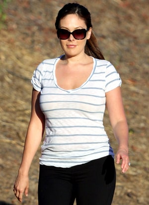 Lindsay price shows off her engagement ring on a walk on july 20 2012