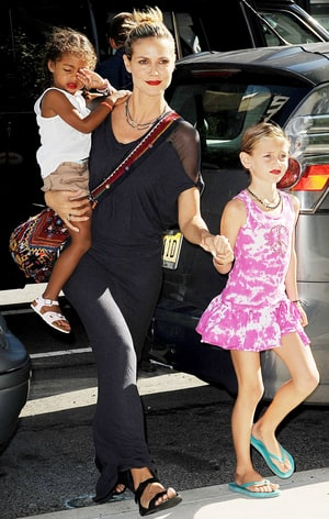 Heidi klum takes her children lenny and lou to the children s museum