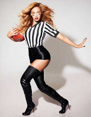 Beyonce Wears Sexy Referee Costume Thigh-High Boots in Super Bowl