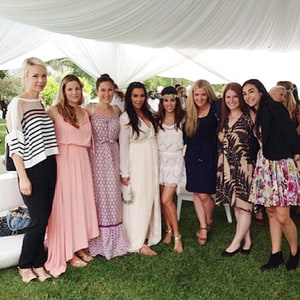 kim kardashian baby shower photo pregnant star poses with friends