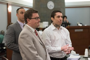 War Machine, right, stands with attorneys Jay Leiderman, center, and Brandon Sua as jurors enter the courtroom during the second day of jury selection for Koppenhaver's trial at the Clark County Regional Justice Center in Las Vegas, Nev., on February 28, 2017. Koppenhaver is facing 34 charges including attempted murder against his former girlfriend, adult film actress Christy Mack.