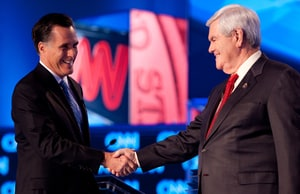 Mitt Romney and Newt Gingrich prior to the CNN Southern Republican Leadership Conference Town Hall Debate.