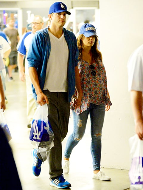 Mila Kunis and Ashton Kutcher Dodgers Game