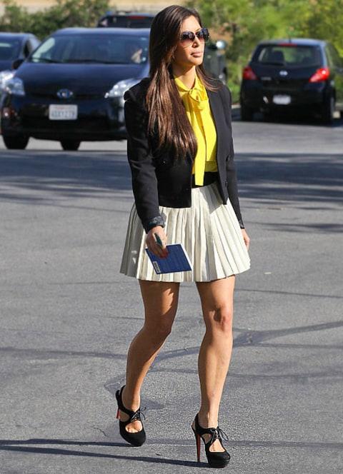 kim kardashian wears miniskirt sexy heels to church on