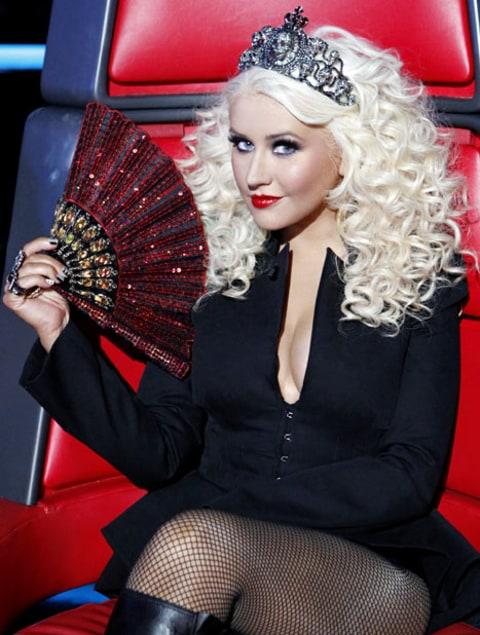 Pantsless Christina Aguilera Wears Tiara Fishnets On The