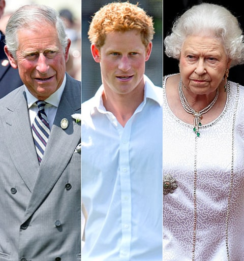 Sheepish Prince Harry Meets With Queen, Prince Charles
