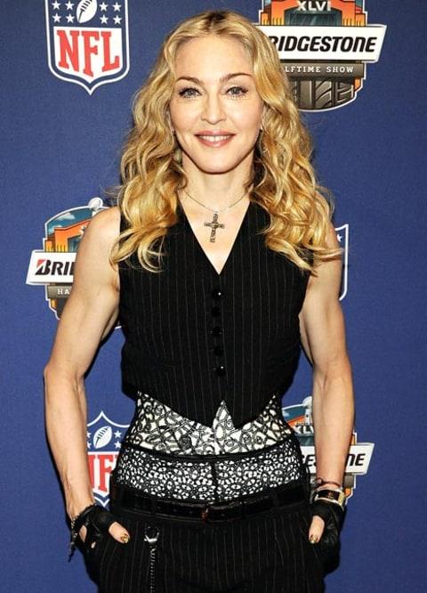 Madonna poses during the Super Bowl XLVI Halftime Show ...