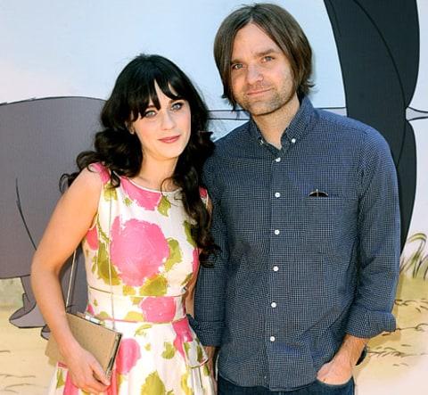Actress Zooey Deschanel (L) and her husband musician Ben ...