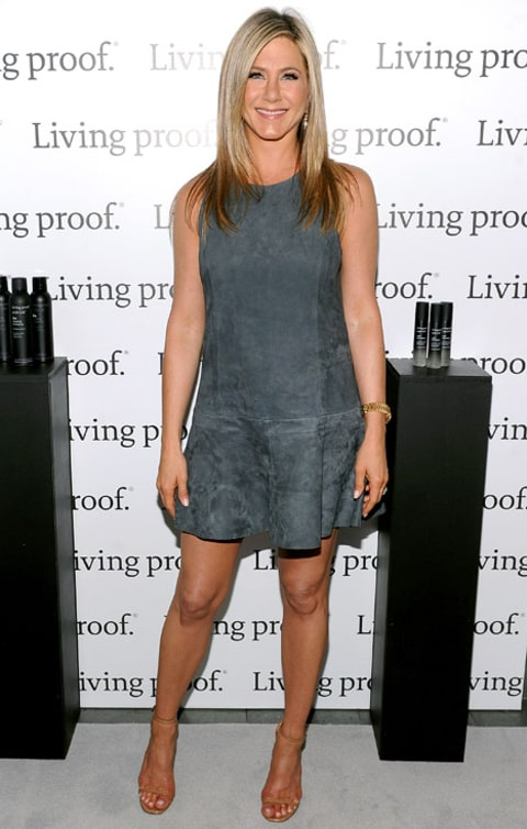 Jennifer Aniston Works Toned Legs In Charcoal Gray Suede Dress Us Weekly