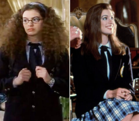 anne hathaway in the princess diaries movie makeovers