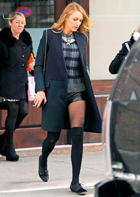 Blake Lively Wears Super-Short Leather Shorts in Chilly ...