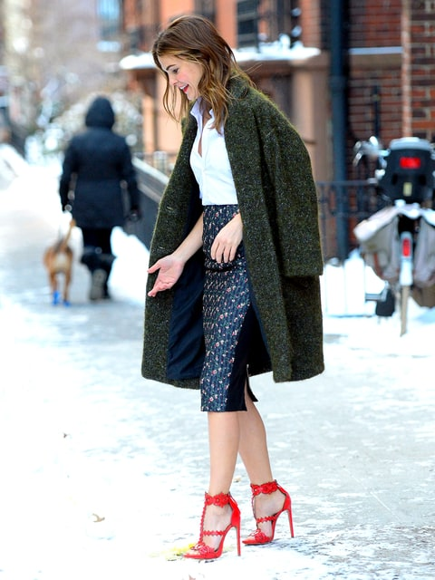 Keri Russell Navigates The Blizzard In Red Stiletto High