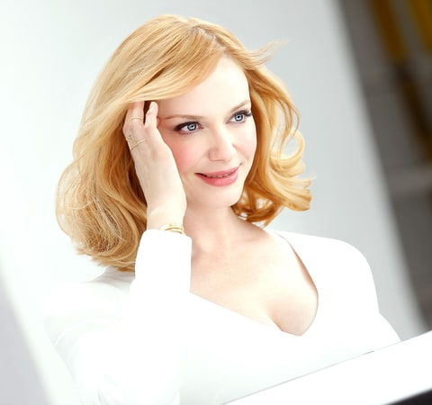 Christina Hendricks debuts her new blonde hair color as part of her