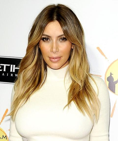 honey blonde highlights kim kardashians best hairstyles