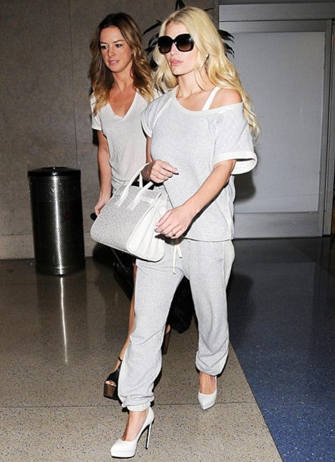 jessica simpson in sweatpants and heels