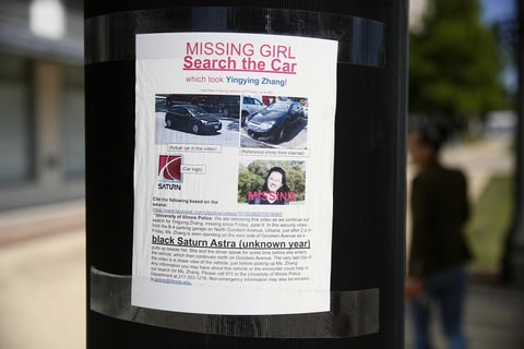 July 2, 2017 Photo taken on July 1, 2017 shows a poster about Yingying Zhang in the place where she was kidnapped by the suspect in Champaign, Illinois, the United States. The University of Illinois at Urbana-Champaign (UIUC) visiting Chinese scholar Zhang Yingying, who was kidnapped on June 9, is feared dead. FBI arrested 28-year-old Brendt Christensen Friday on criminal complaint that charges him for kidnapping Zhang on June 9, 2017.