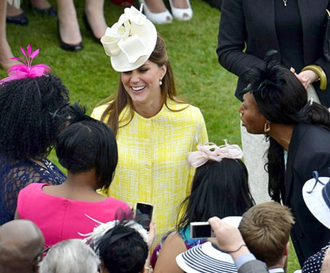 kate laughing with guests