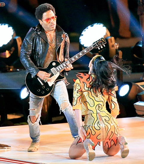 Lenny Kravitz and Katy Perry Super Bowl