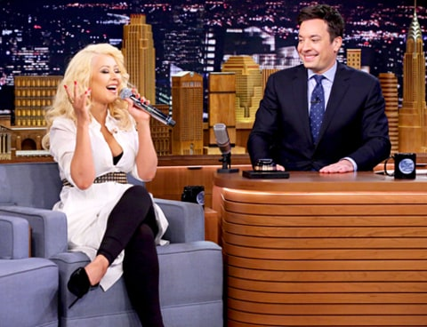 Christina Aguilera and Jimmy Fallon
