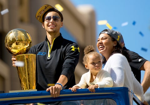 Stephen Curry, Riley Curry and Ayesha Curry