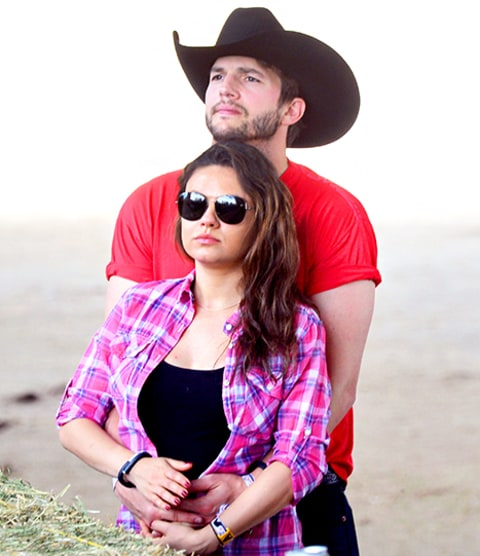 Ashton Kutcher and Mila Kunis Cradling Bump