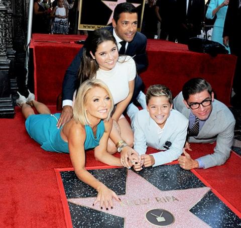 Kelly Ripa and her family with star