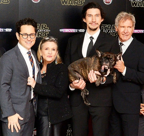 J.J. Abrams, Carrie Fisher, Adam Driver and Harrison Ford