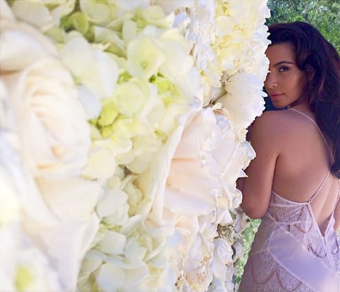 Kim Kardashian Flower Wall Photoshoot