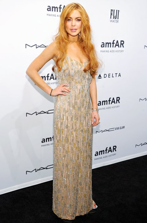 lindsay lohan amfar dress