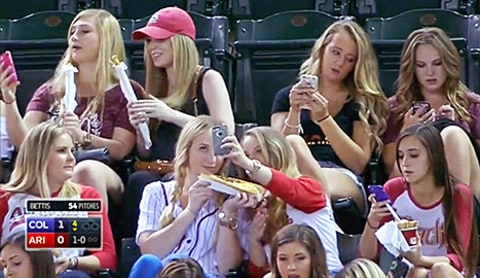sorority gals on phones