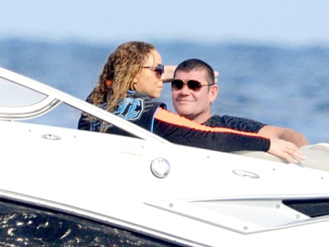 Mariah Carey and James Packer on speedboat