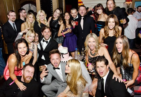 aaron paul lauren party group shot
