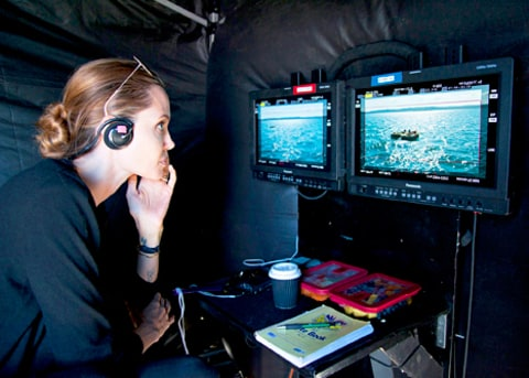 Angelina Jolie on the set of Unbroken