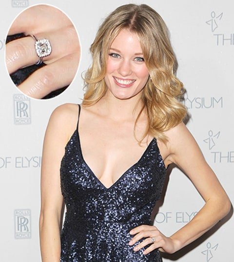 Ashley Hinshaw showed off her new engagement ring on the red carpet at ...