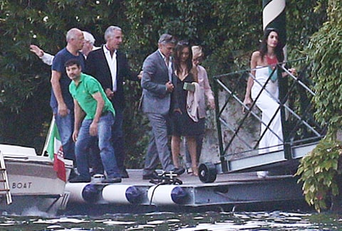 george and amal with families