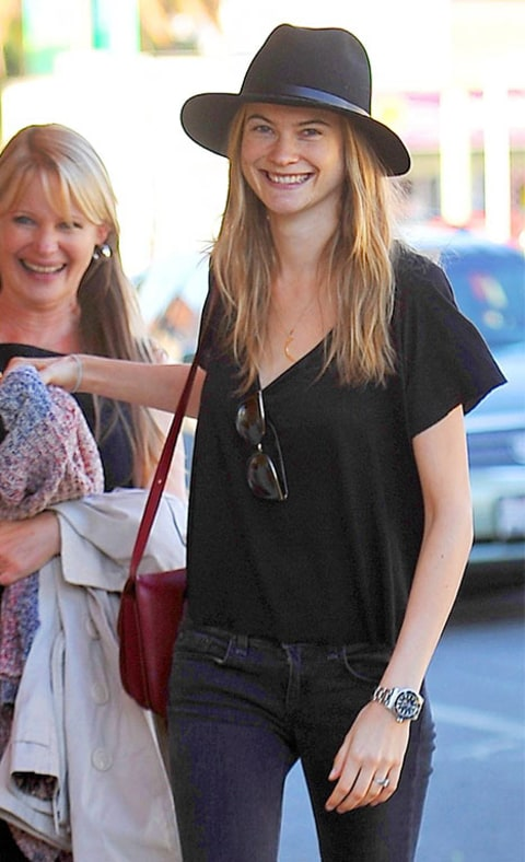 Behati Prinsloo and her parents enjoy dinner at Mozza