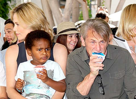 Charlize Theron, Jackson Theron and Sean Penn