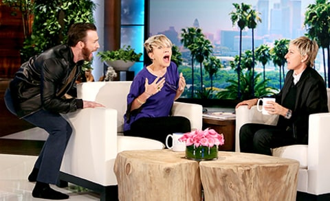 Chris Evan scares Scarlett Johansson on Ellen