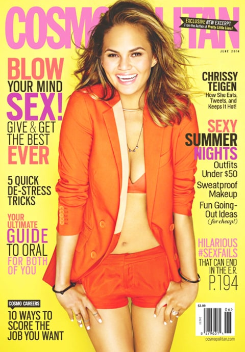 Chrissy Teigen Cosmopolitan Cover Orange