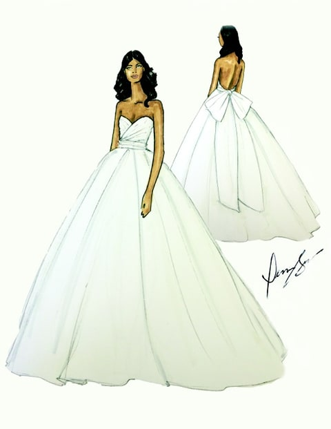 Dennis Basso and Gabrielle Union - wedding dress sketch