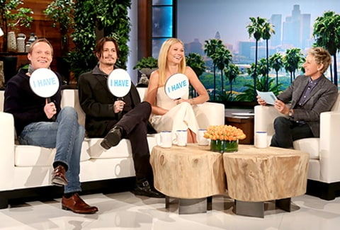 Johnny Depp, Gwyneth Paltrow and Paul Bettany play Never Have I Ever