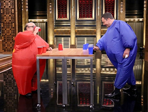 Jimmy Fallon and Danny Devito play flip cup