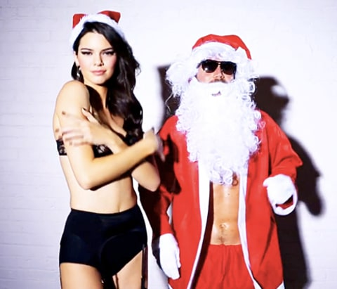 Kendall Jenner and Santa Clause