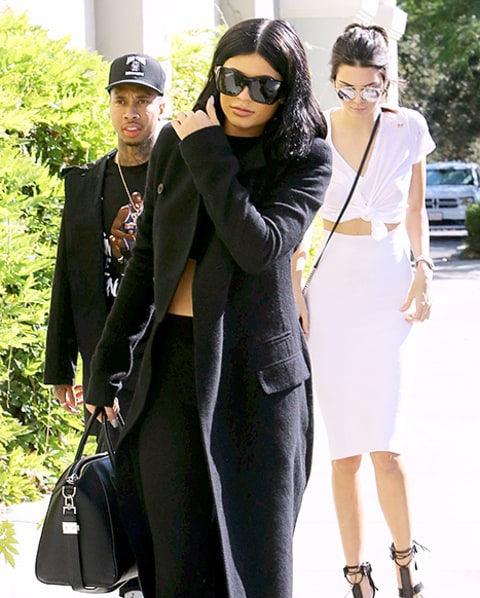 Kendall and Kylie Jenner and Tyga arrive