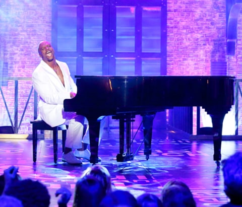 Terry Crews playing piano on Lip Sync Battle
