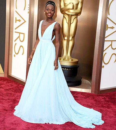 lupita nyongo wears a dress made out of pearls to 2015