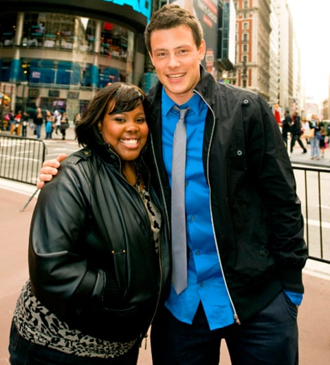 Amber Riley and Cory Monteith