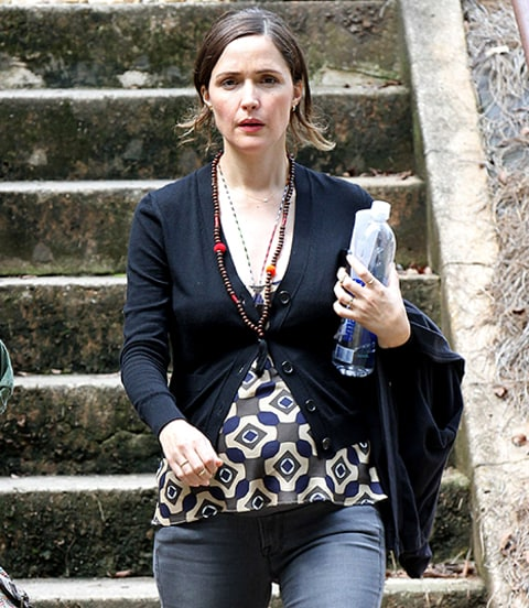 Rose Byrne on set