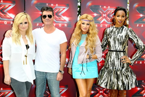 Simon Cowell, Demi Lovato, Paulina Rubio and Kelly Rowland